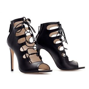 Zara Lace Up Black Leather Heels Size 37